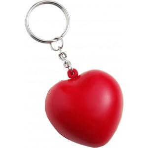 Szív alakú stresszlevezető kulcstartó, piros