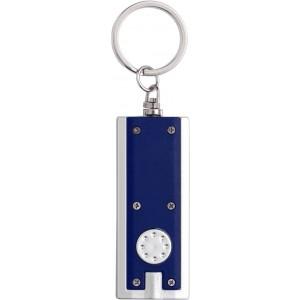 Világítós LED kulcstartó, műanyag, kék