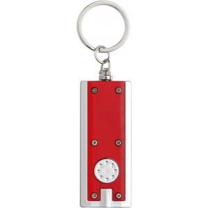 Világítós kulcstartó, műanyag, piros