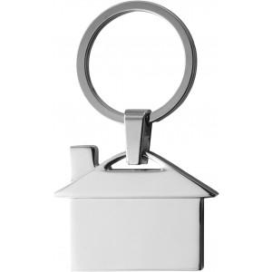 Ház formájú fém kulcstartó, ezüst